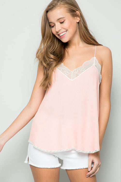 Silk Crepe Lace Cami -BLUSH