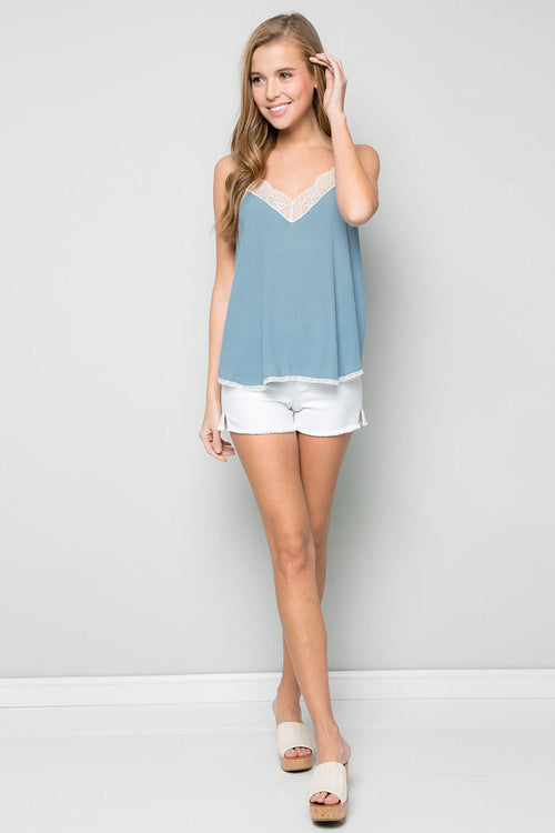 Silk Crepe Lace Cami -CHAMBRAY