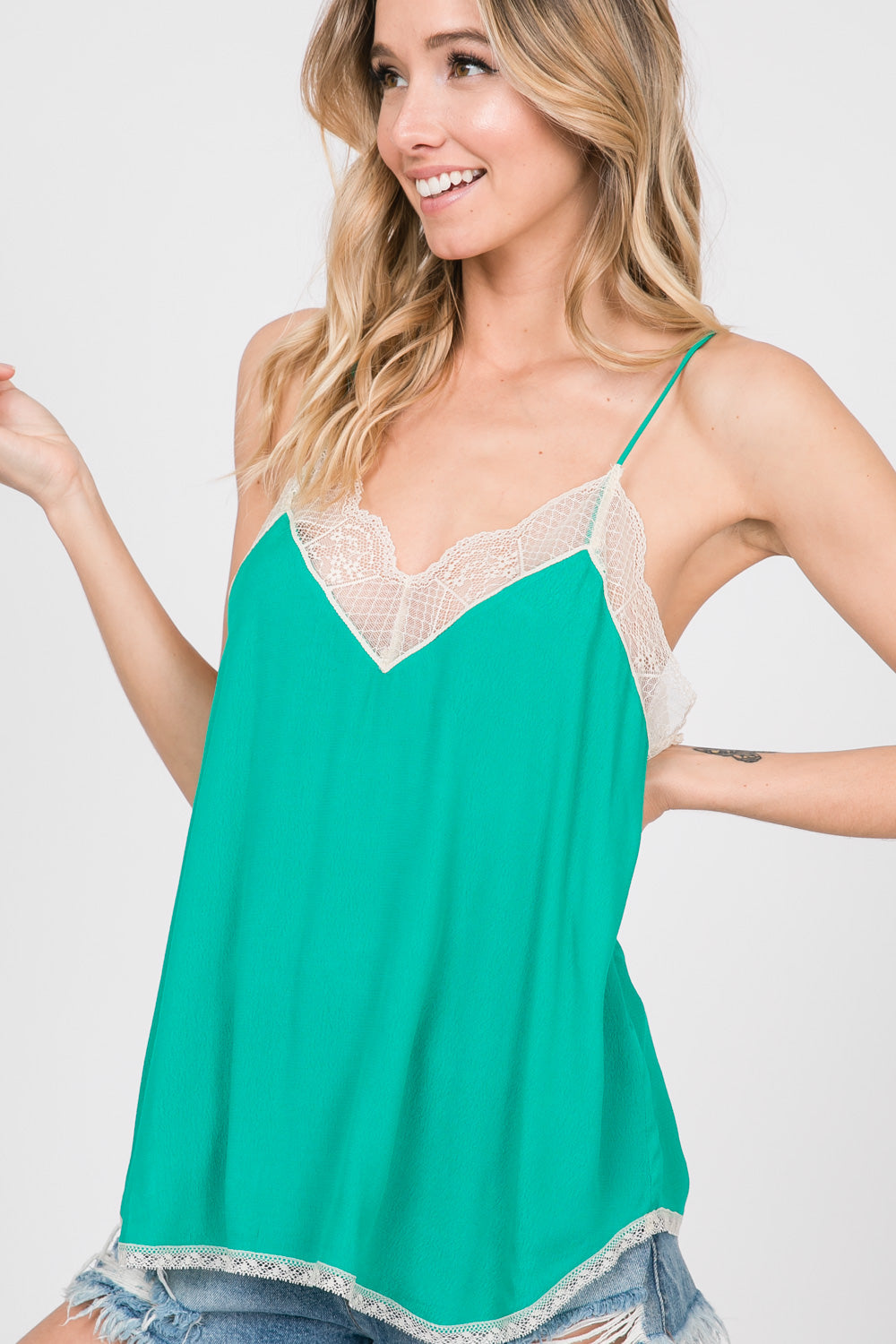 52aabe838b Silk Crepe Lace Cami -EMERALD – Cherry On Boutique