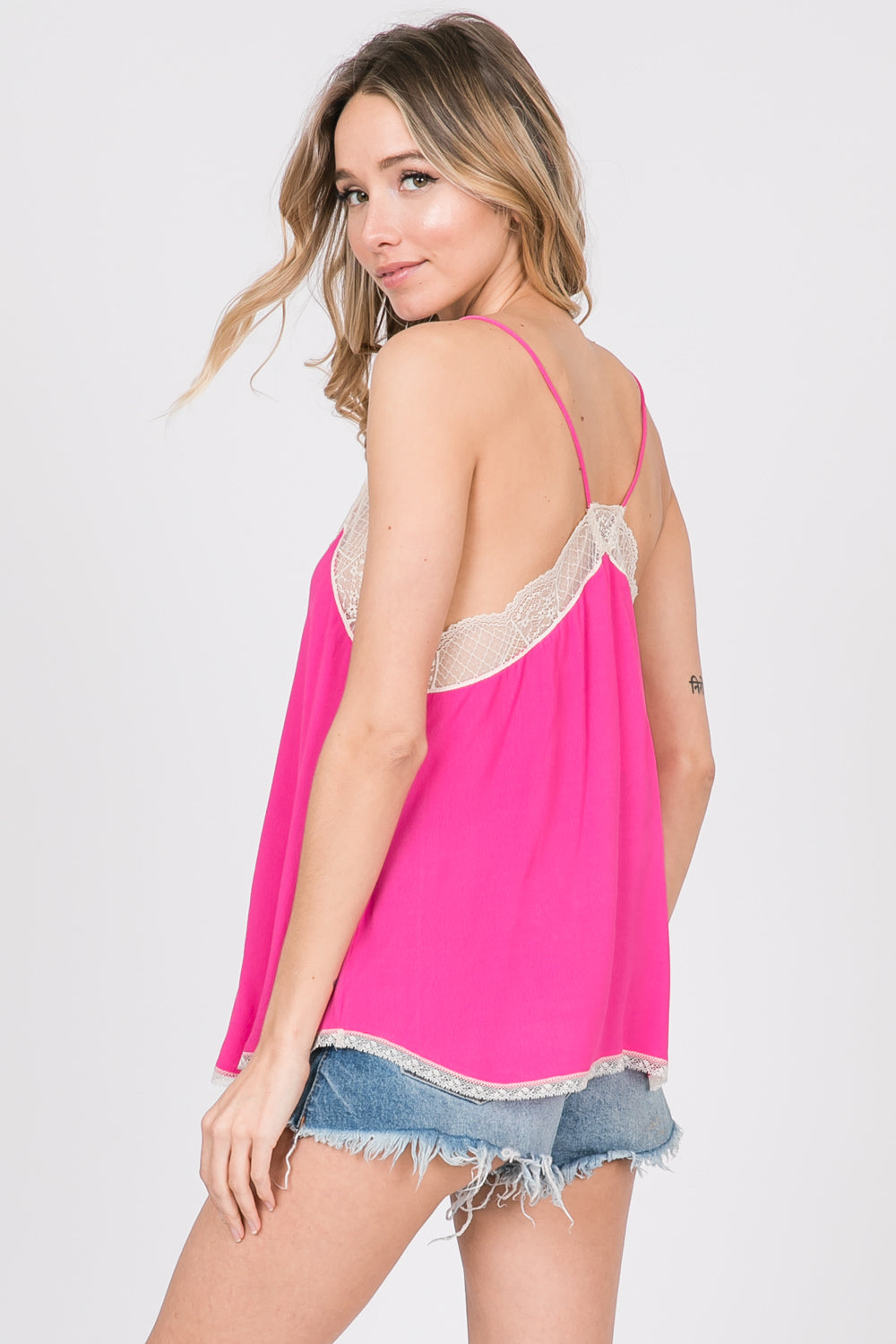 Silk Crepe Lace Cami -HOT PINK