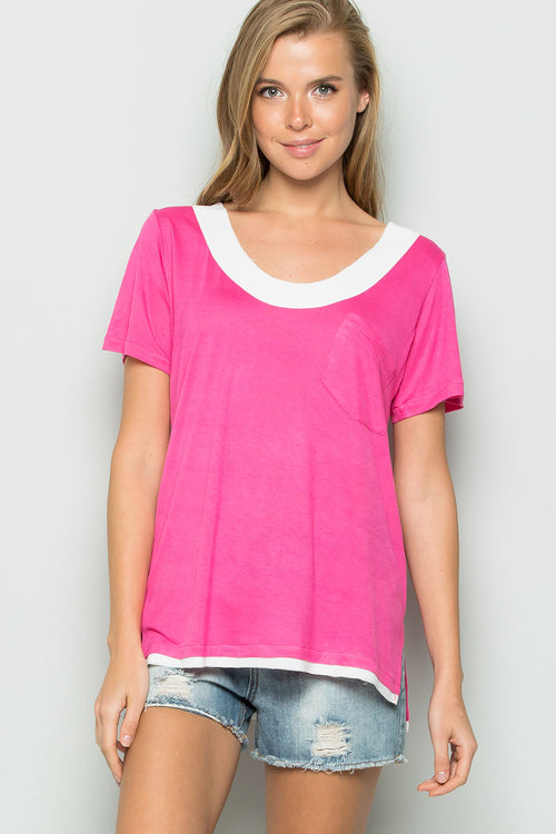 Raw Edge Chiffon Trim Top-HOT PINK