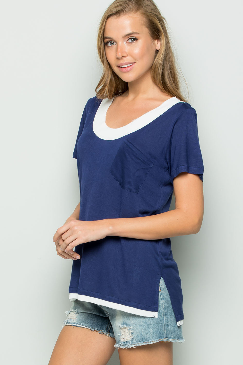 Raw Edge Chiffon Trim Top-NAVY