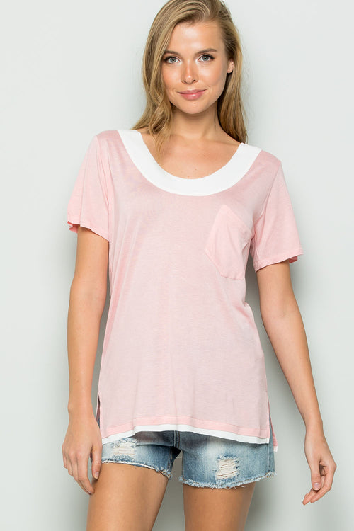 Raw Edge Chiffon Trim Top-ROSE