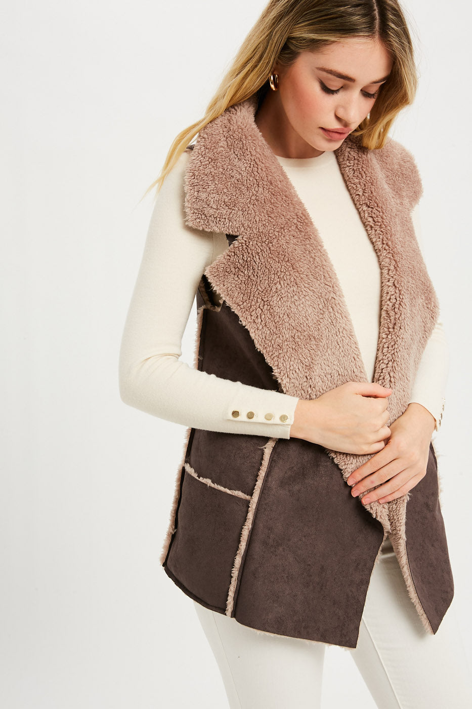Shearling Suede Fur Vest - Charcoal