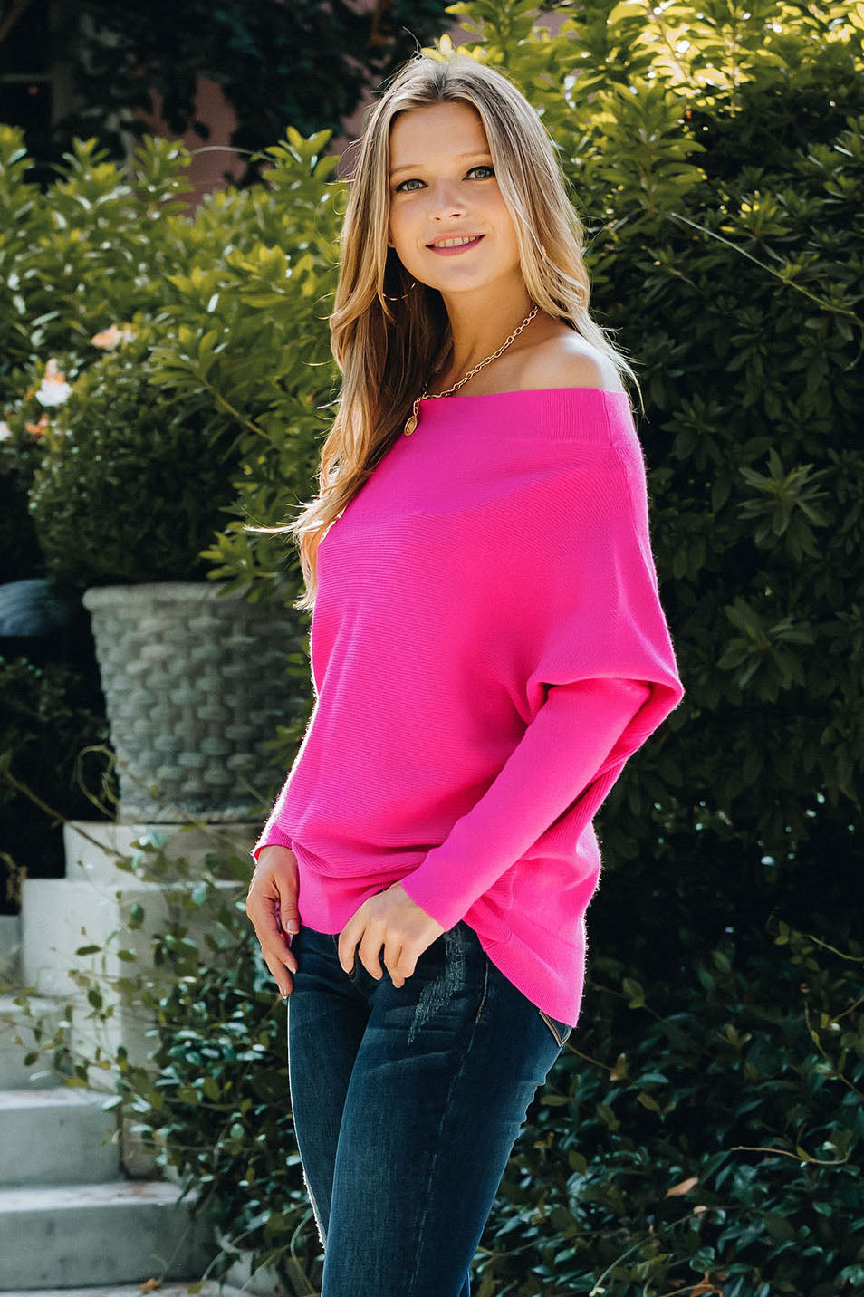 Versatile Knit Batwing Pullover - Hot Pink