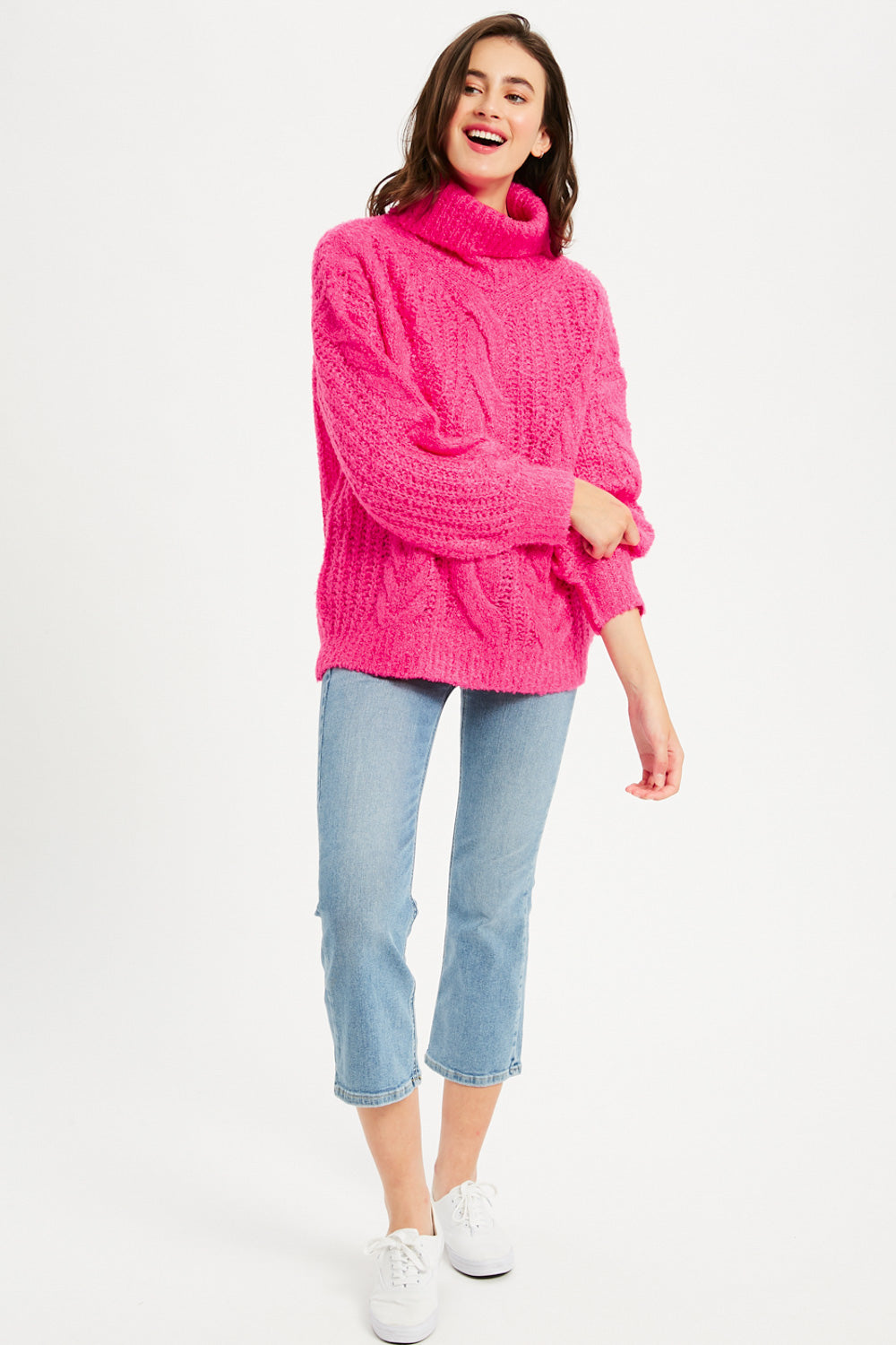 Chunky Cable Knit Turtleneck Pullover - Hot Pink