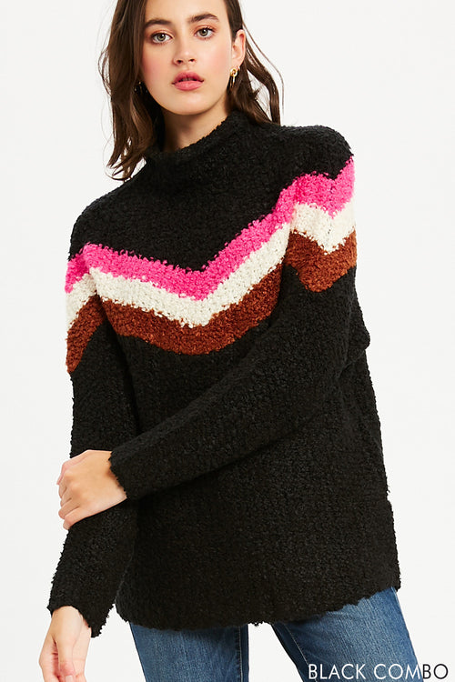 Chevron Mock Neck Pullover - Black Combo
