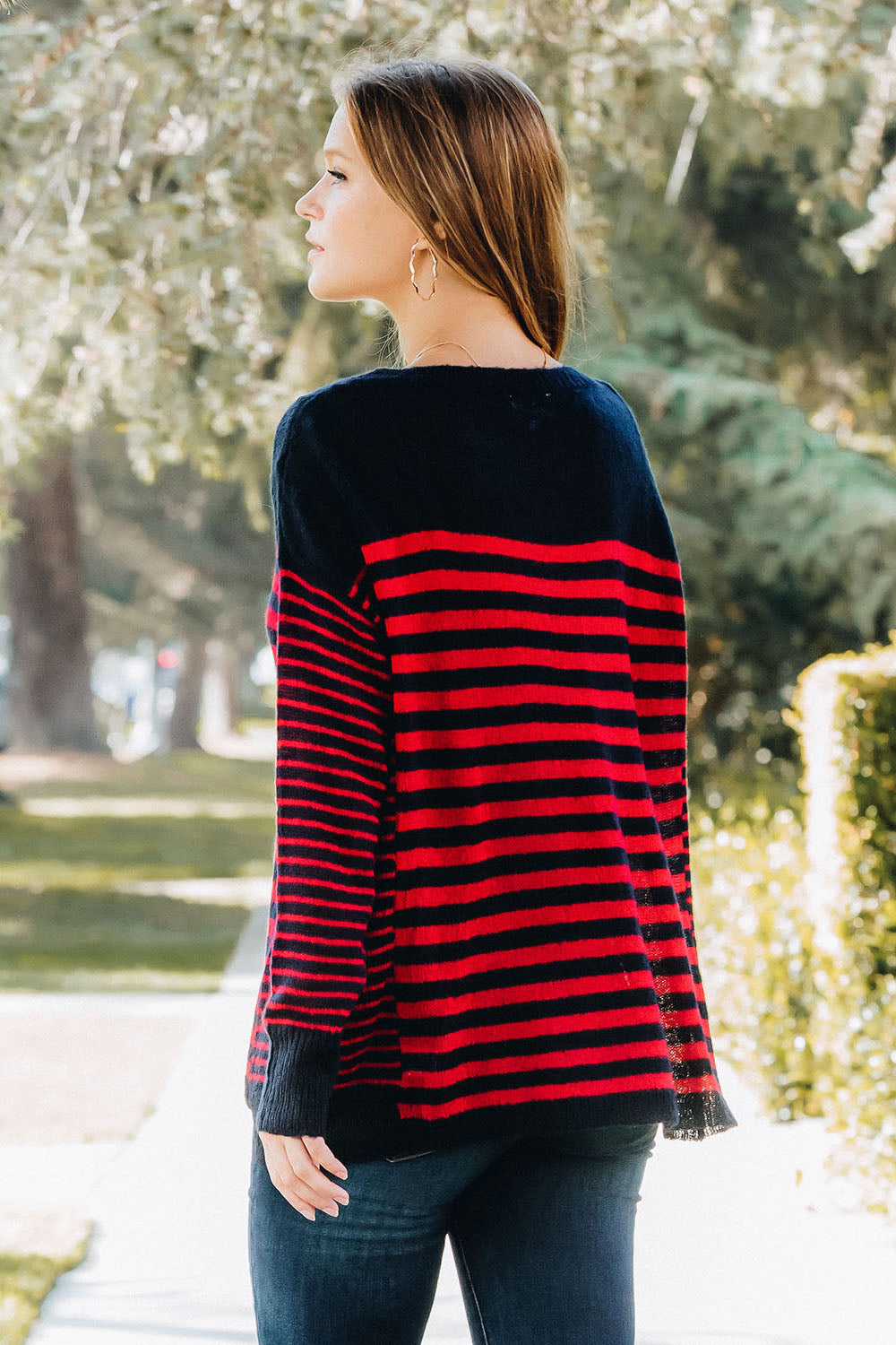 Oversized Stripe Scoop Neck Pullover - Red/Navy