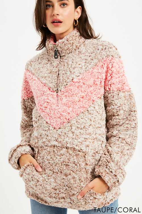 Chevron Sherpa Quarter Zip Pullover - Taupe/Coral