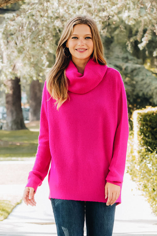 Versatile Knit Dolman Top - Hot Pink