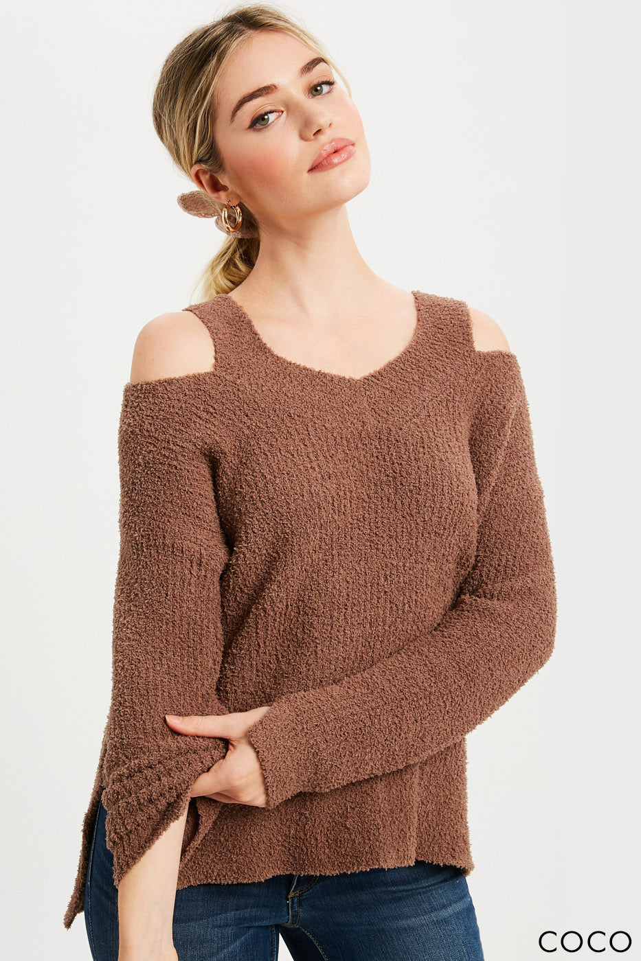 Soft Feel V-Neck Cutout Pullover - Coco