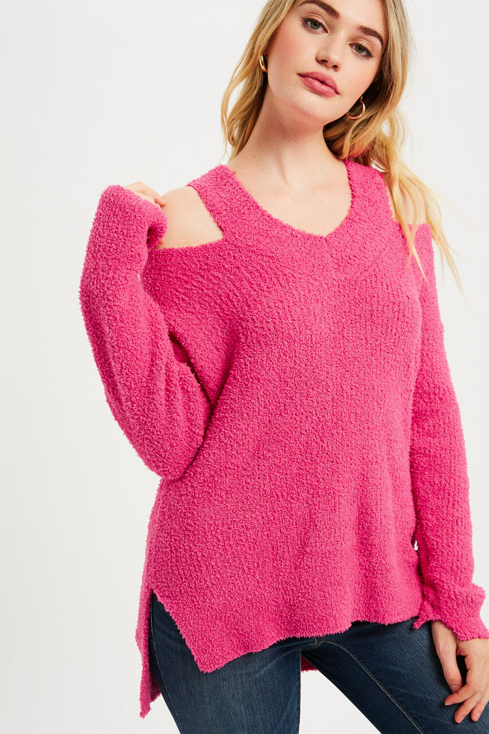 Soft Feel V-Neck Cutout Pullover - Hot Pink