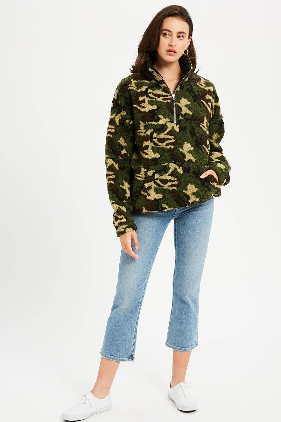 Camo Sherpa Quarter Zip Pullover - Camouflage
