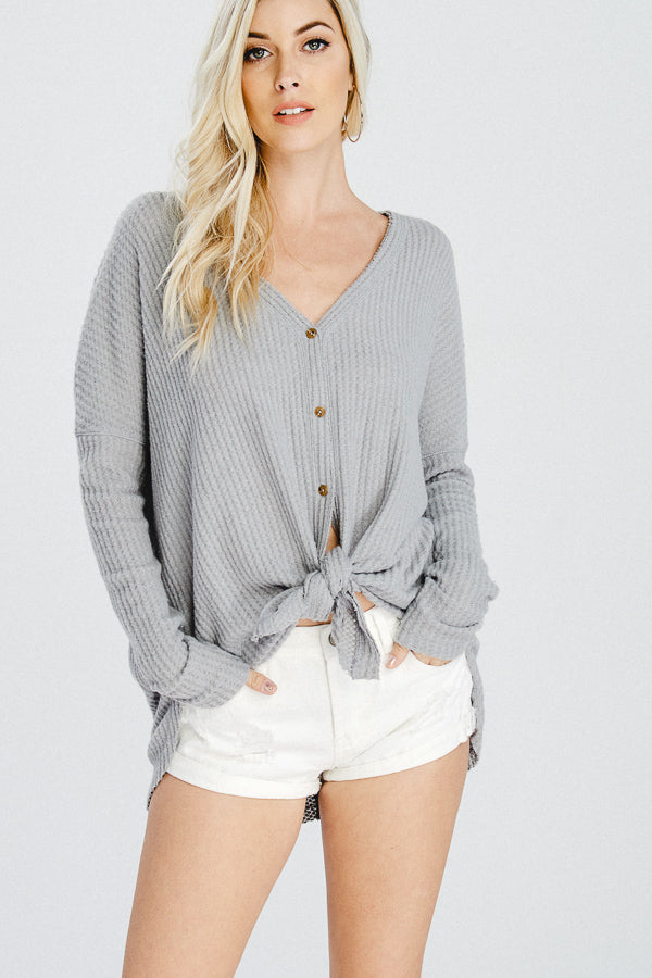 V-Neck Button Down Cardigan Sweater-GREY