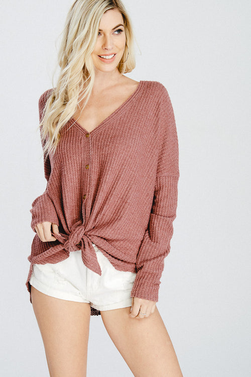 V-Neck Button Down Cardigan Sweater-RED BEAN