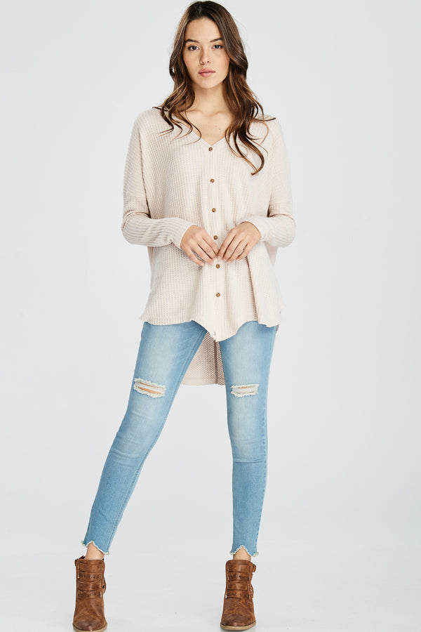 V-Neck Button Down Cardigan Sweater-TAUPE
