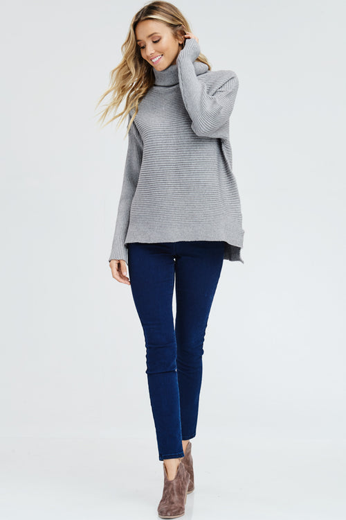 Turtle neck drop shoulder pullover-h.grey