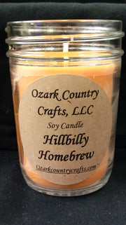 Hillbilly Homebrew 8 oz Jelly Jar Soy Candle