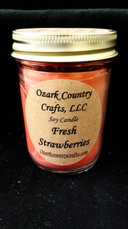 Fresh Strawberries 8 oz Jelly Jar Soy Candle