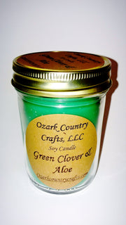 Green Clover and Aloe Soy Candle - Jelly Jar