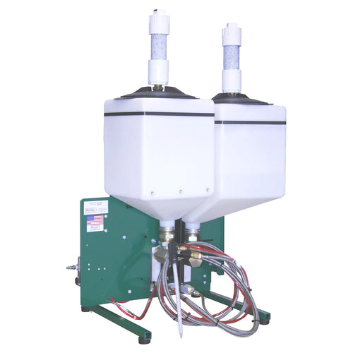 Compact meter mix dispensing system with desiccant tanks