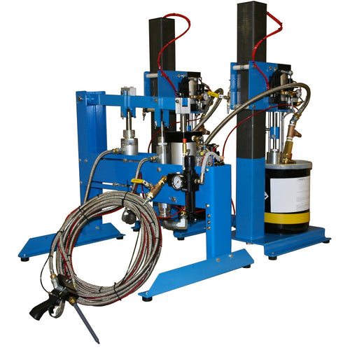 Two part meter mix dispensing system from drums, totes or reservoir