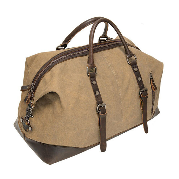 Vintage Canvas Sport Tote Gym Bag - Overnight Shoulder Bag - Weekend Travel Duffel Bag