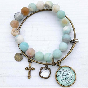 But the Lord stood with me and gave me strength 2 Timothy 4:17 Bangle Set - Redeemed Jewelry