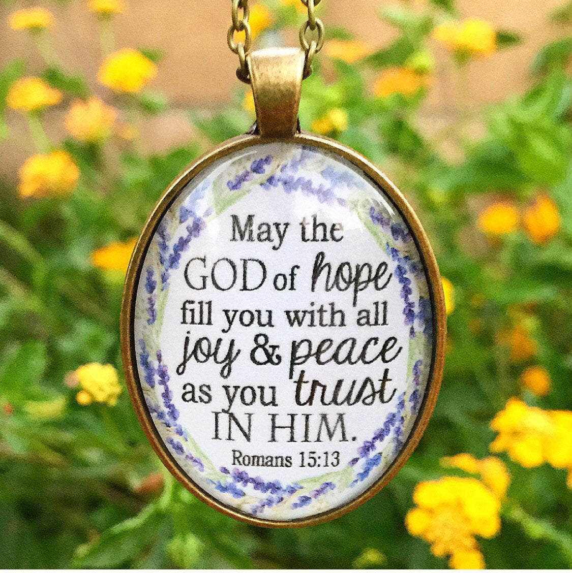 Romans 15:13 Pendant Necklace - Redeemed Jewelry