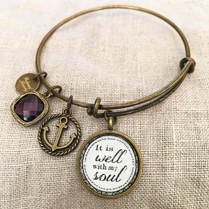 It Is Well With My Soul Bangle Bracelet - Redeemed Jewelry