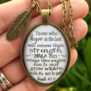 Isaiah 40:31 Bible Verse Pendant Necklace - Redeemed Jewelry