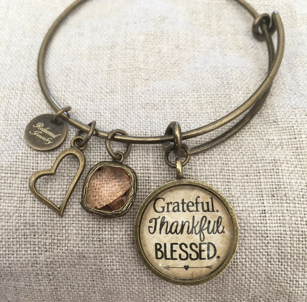Grateful. Thankful. Blessed Bangle Bracelet - Redeemed Jewelry