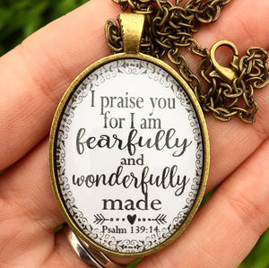 Psalm 139:14 Pendant Necklace - Redeemed Jewelry