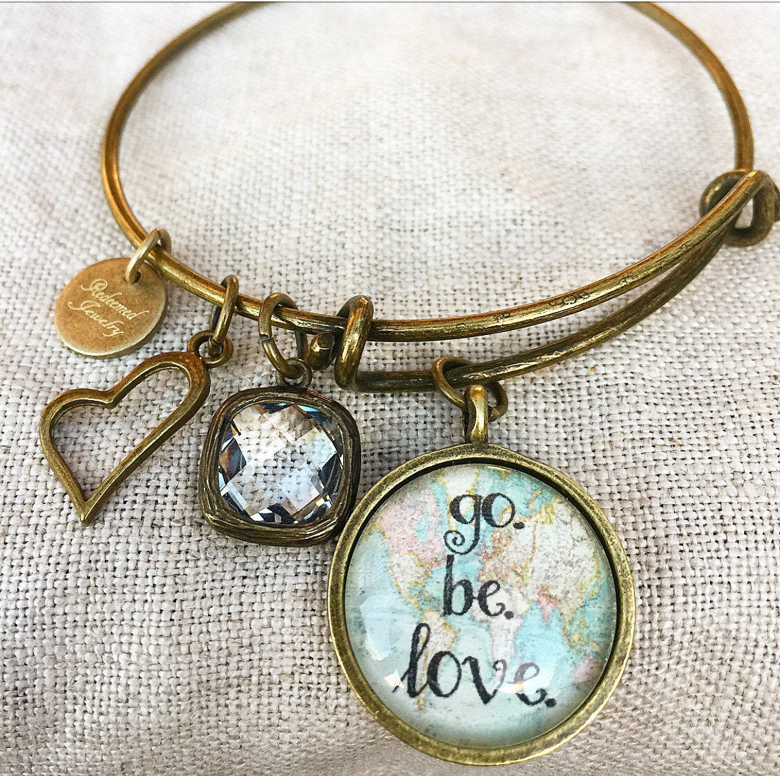 Go. Be. Love. Bangle Bracelet - Redeemed Jewelry