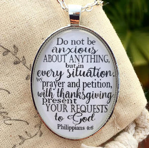 "Scripture Necklace ""Do not be anxious about anything..."" Philippians 4:6 - Redeemed Jewelry"