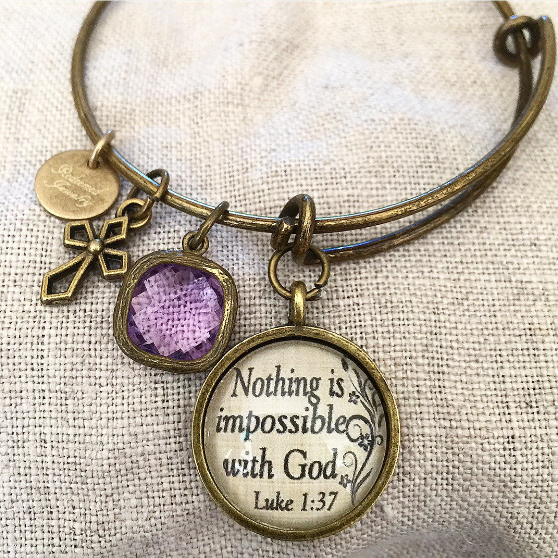 "Bible Verse Bangle Bracelet ""Nothing is impossible with God."" Luke 1:37 - Redeemed Jewelry"