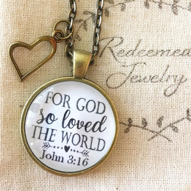 "Scripture Necklace ""For God so loved the world."" John 3:16 - Redeemed Jewelry"