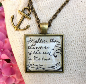 "Pendant Necklace ""Mightier than the waves of the sea is His love for you."" Psalm 93:4 - Redeemed Jewelry"
