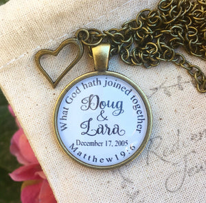 Matthew 19:6 Custom Pendant Necklace for Anniversary or Wedding Gift - Redeemed Jewelry