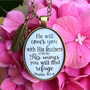 Psalm 91:4 Necklace - Redeemed Jewelry