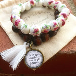 It is Well Dark Wood Bead Pink flower stone Bracelet STACK - Redeemed Jewelry