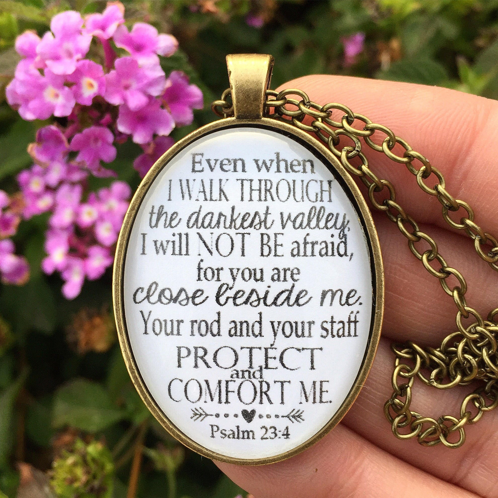 Psalm 23:4 Bible Verse Pendant Necklace - Redeemed Jewelry