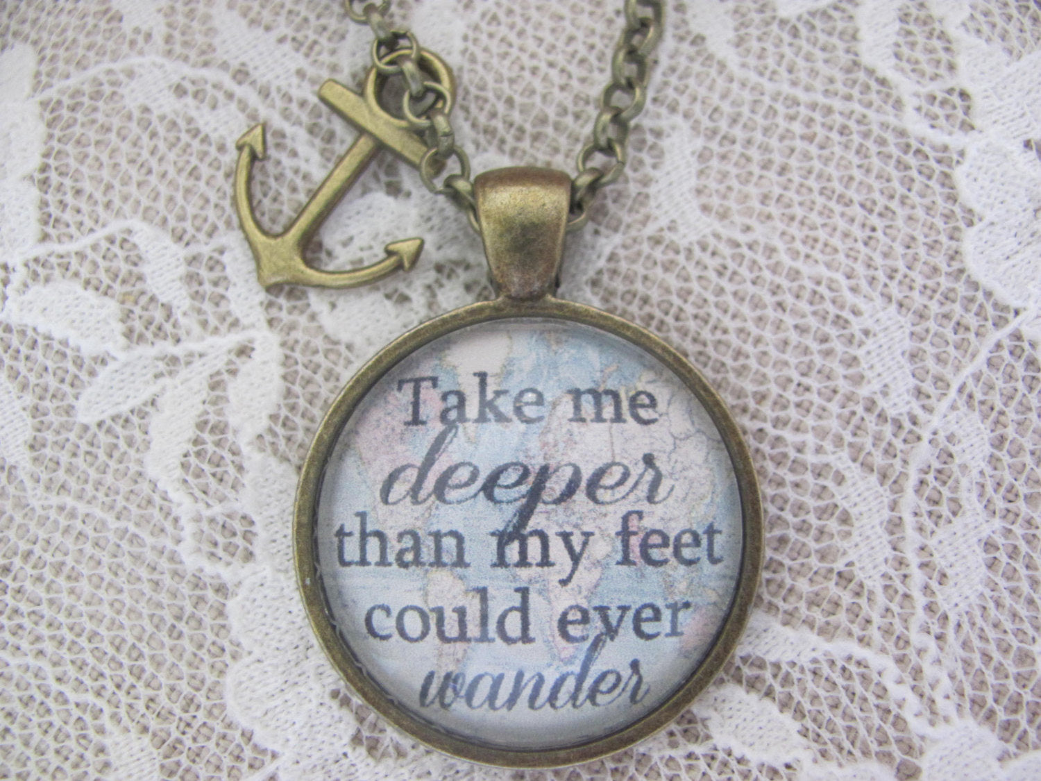 "Hillsong Oceans Pendant Necklace ""Take me deeper than my feet could ever wander"" - Redeemed Jewelry"