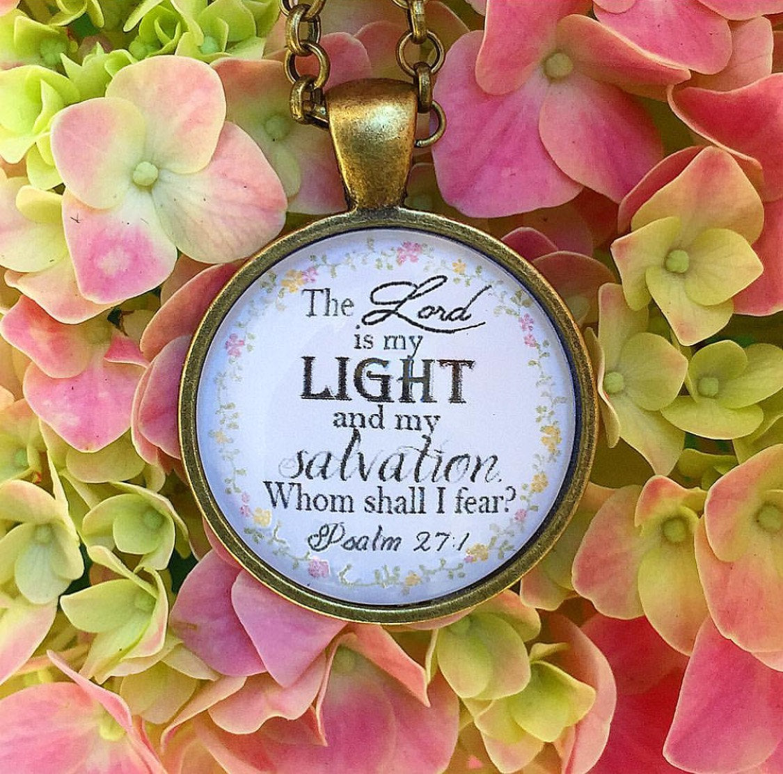 The Lord is my Light and my salvation. Whom shall I fear? Psalm 27:1 Necklace - Redeemed Jewelry