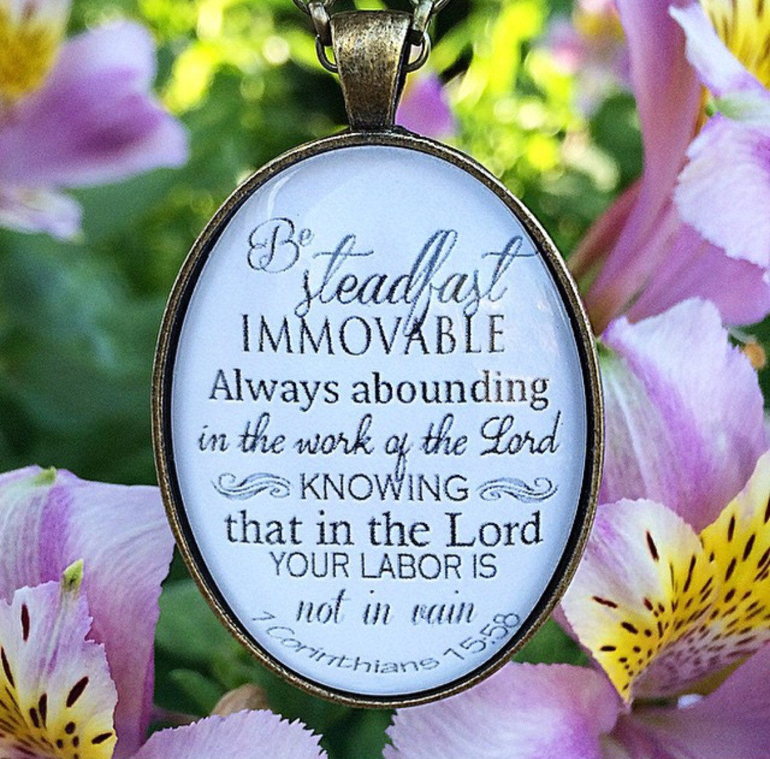 1 Corinthians 15:58 Pendant Necklace - Redeemed Jewelry