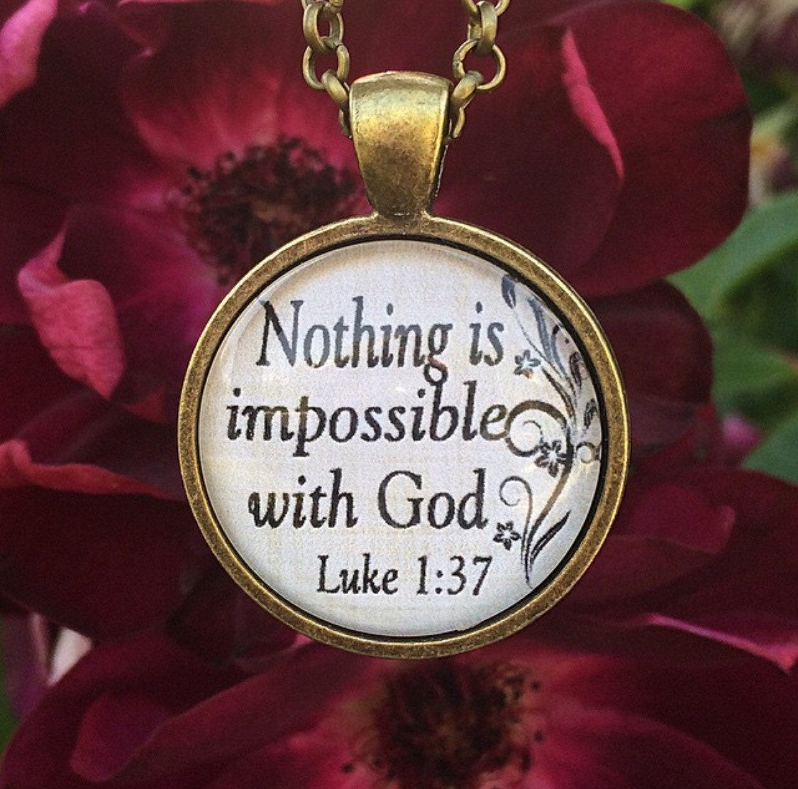 Nothing is impossible with God Luke 1:37 Necklace - Redeemed Jewelry