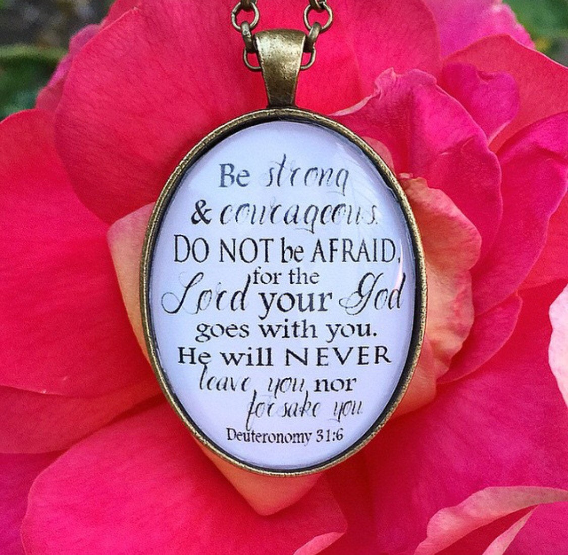 Deuteronomy 31:6 Pendant Necklace - Redeemed Jewelry
