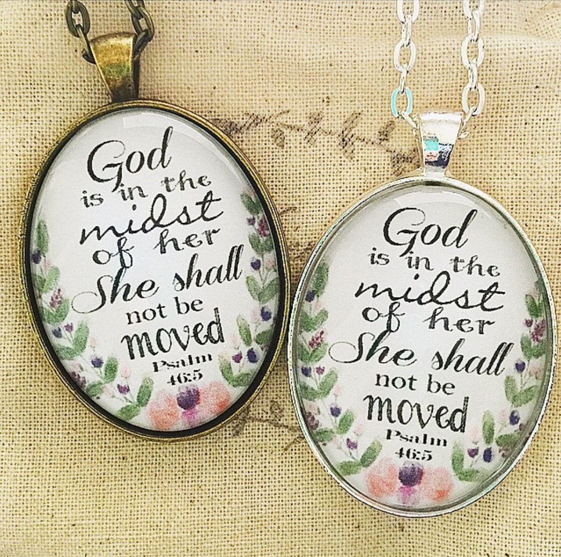 "Bible Verse Pendant Necklace ""God is in the midst of her, she shall not be moved. Psalm 46:5"" - Redeemed Jewelry"