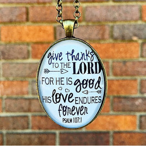 Psalm 107:1 Pendant Necklace - Redeemed Jewelry