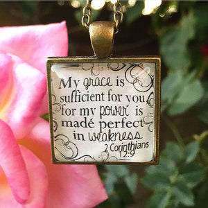 My Grace is Sufficient 2 Corinthians 12:9 Necklace - Redeemed Jewelry